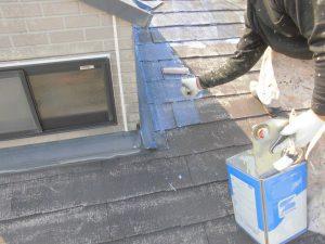 奈良県橿原市 スレート屋根下塗り塗装1回目1