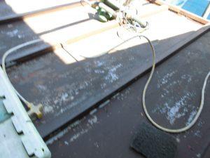 北葛城郡河合町 鉄部(屋根庇)の錆び止めと上塗り塗装
