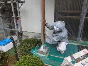 奈良県宇陀市U様 外壁塗装 玄関の木部塗装 ケレン
