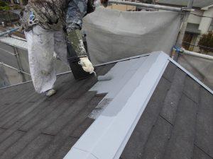 奈良県橿原市 スレート屋根にガイナ塗装1