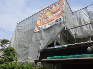 橿原市 外壁塗装で20年持つ断熱セラミックガイナを塗る