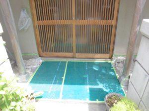 橿原市 外壁塗装前に養生シート張り1