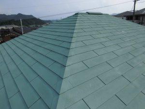 奈良県宇陀市 断熱遮熱塗料ガイナをスレート屋根塗装完成