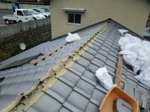 奈良県吉野郡K様 屋根修理 棟瓦のめくり1