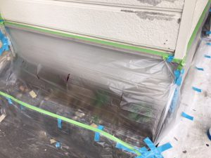 奈良県橿原市 外壁塗装用養生シート張り1