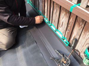 奈良県吉野郡 壁際バックアップ材を入れる