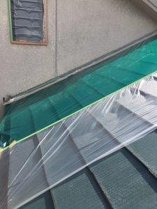 奈良県橿原市 養生シート張る2