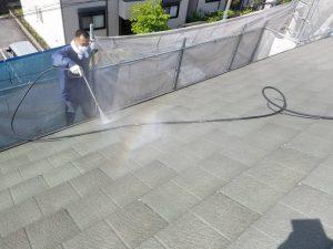名張市 屋根塗装前の高圧洗浄2
