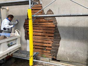 桜井市 外壁修理で防水シート張りラスカットを入れる
