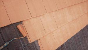 橿原市 モニエル屋根瓦に断熱セラミックガイナを塗装